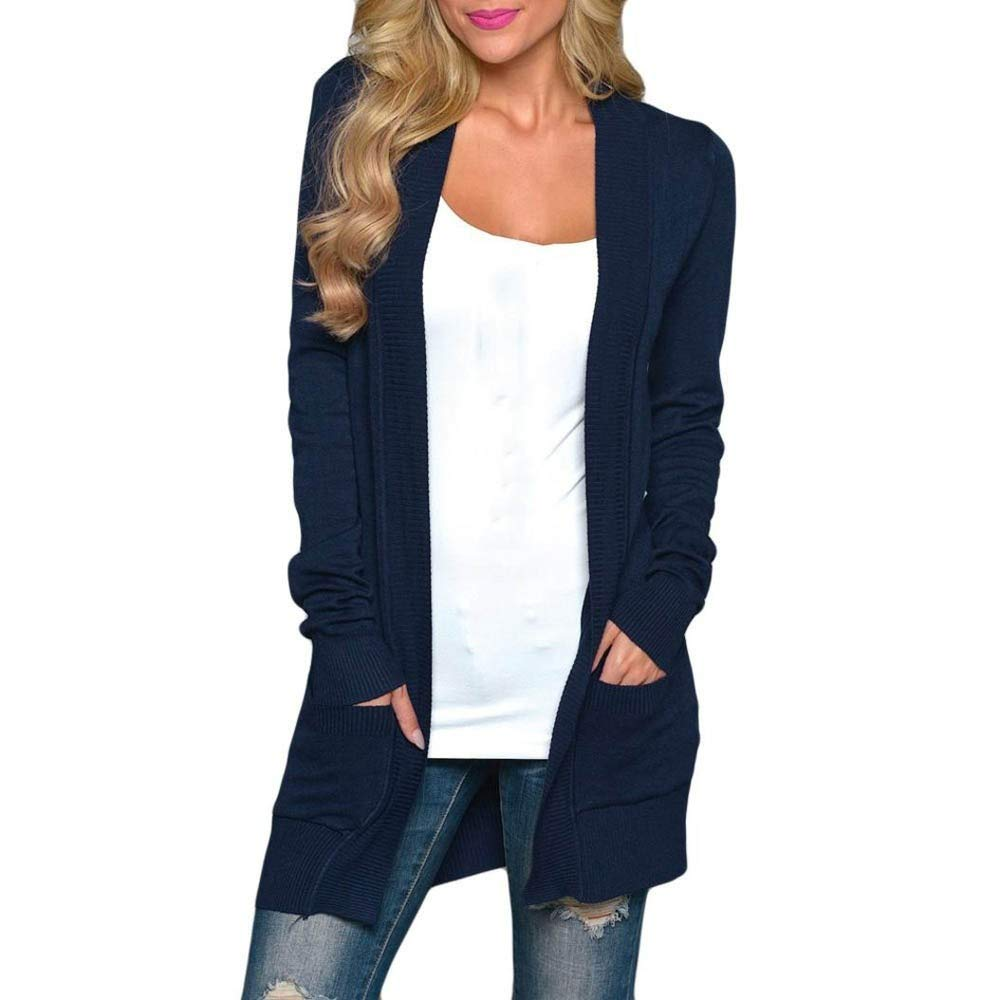 Clearance Sale ! Kshion Women's Winter Plus Size Cardigan Outwear Sweater Coat Solid Knitted Long Sleeve T-shirt Tops