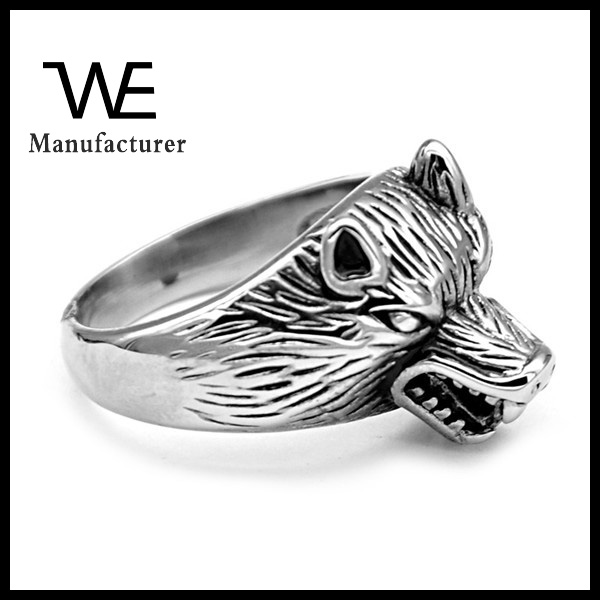 Fashion Design Men Stainless Steel Wolf Ring Jewelry Male Factory Price Wholesale
