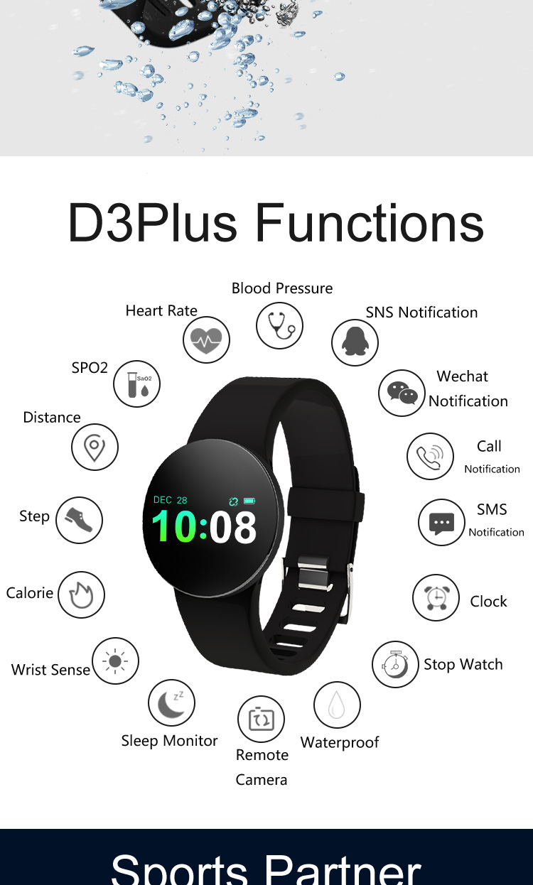 2019 new gadgets swimming waterproof health tracker notifications alarm smart band fitnesstracker hr blood pressure watch