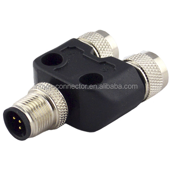 Ip67 Right Angle M12 5 Pin Y Splitter Adapter Cable