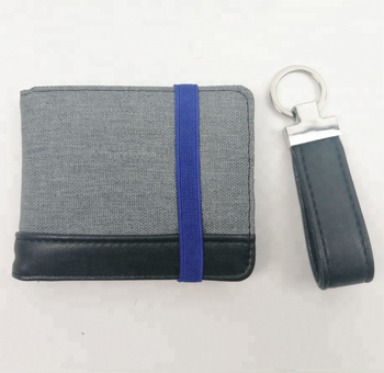 Custom logo fashion travel mini gift set purses money clip leather men's wallet with Key ring for father's day gift men