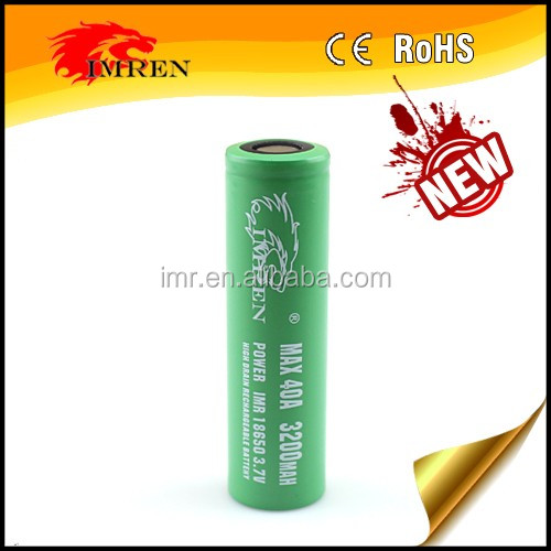 2016 Hot Sell Newest IMREN 3200mah 3.7v 40a Rechargeable 18650 Battery High Drain