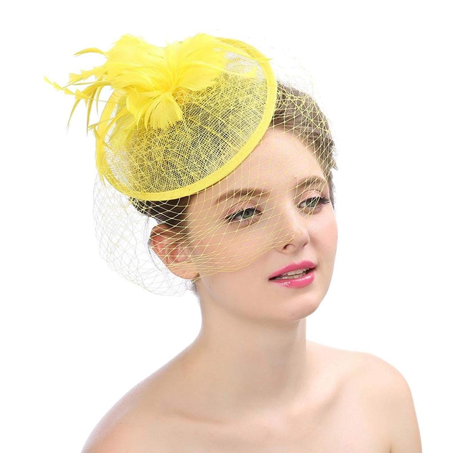 Get Quotations · XILALU Women Kentucky Derby Hats Fascinator Feathers  Flower Mesh Tea Party Headdress Victorian Wedding Cap Hat 25c0881da25