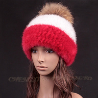 CX-C-235B Girls Winter Fashion Knitted Mink Fur Hat With Fur Ball