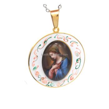 Chine Approvisionnement En Acier Inoxydable Religieux Émail Médaille  Miraculeuse Notre-Dame de Grâce Madonna Marie 6383ce316b4