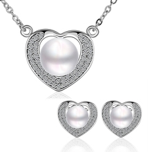 Heart of love freshwater pearl copper jewelry wedding jewelry set for women