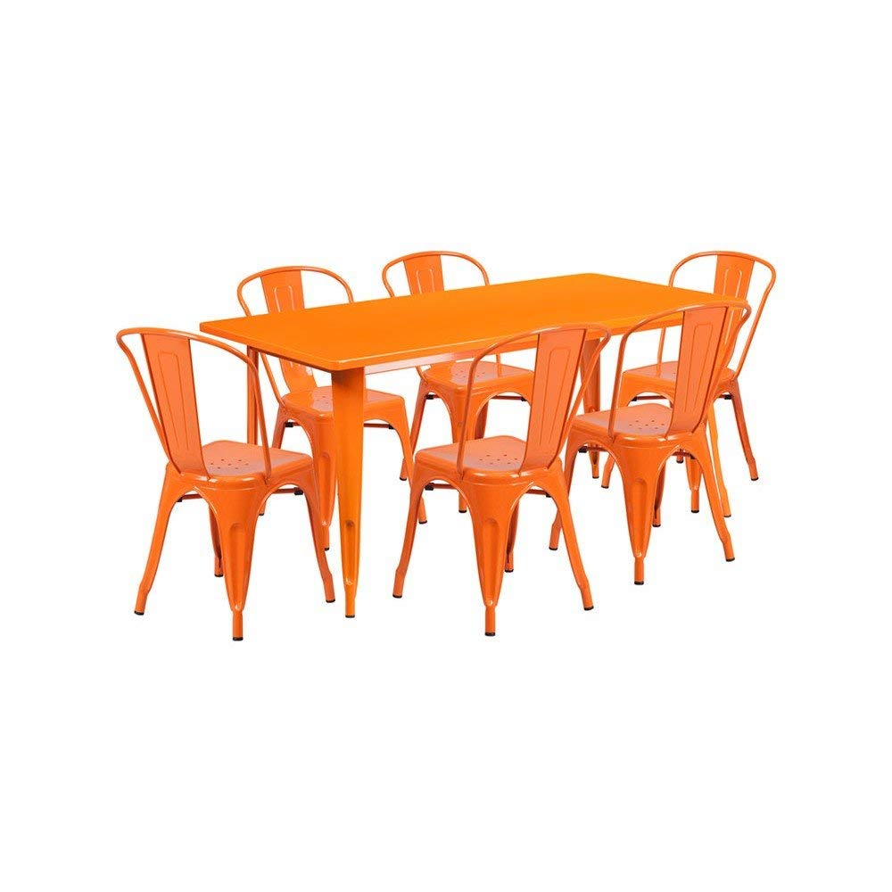 """Offex OFX-380700-FF 31.5"""" x 63"""" Rectangular Metal Indoor Table Set with 6 Stack Chairs - Orange"""