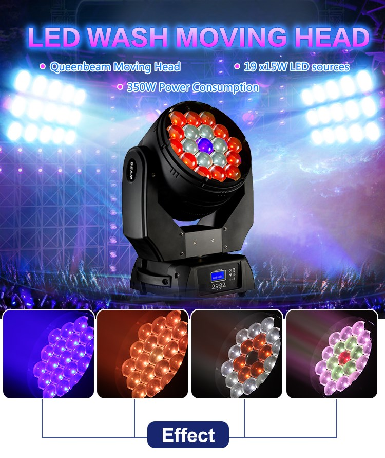 factory price 19x15w cool white beam led moving head lights