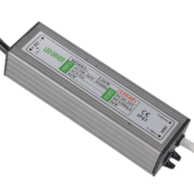 1piece 56W IP67 Waterproof LED Driver Power Supply Constant Current AC100-260V 1200mA for 56W LED Bulb