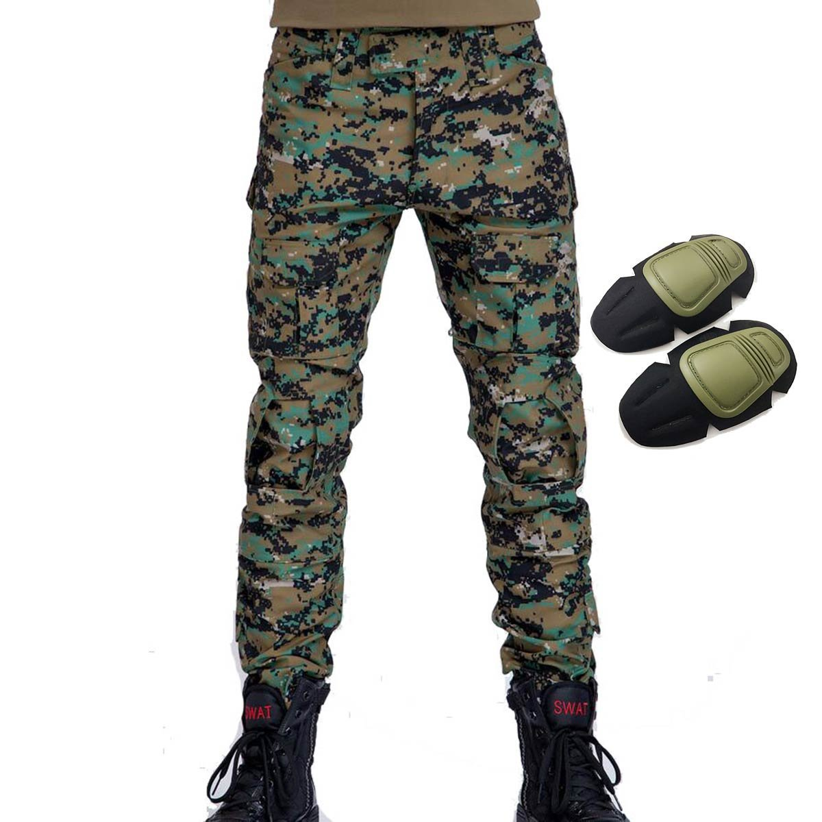 2814727a1a33 Get Quotations · Military Army Tactical Airsoft Paintball Shooting Pants  Combat Men Pants with Knee Pads Digital Woodland