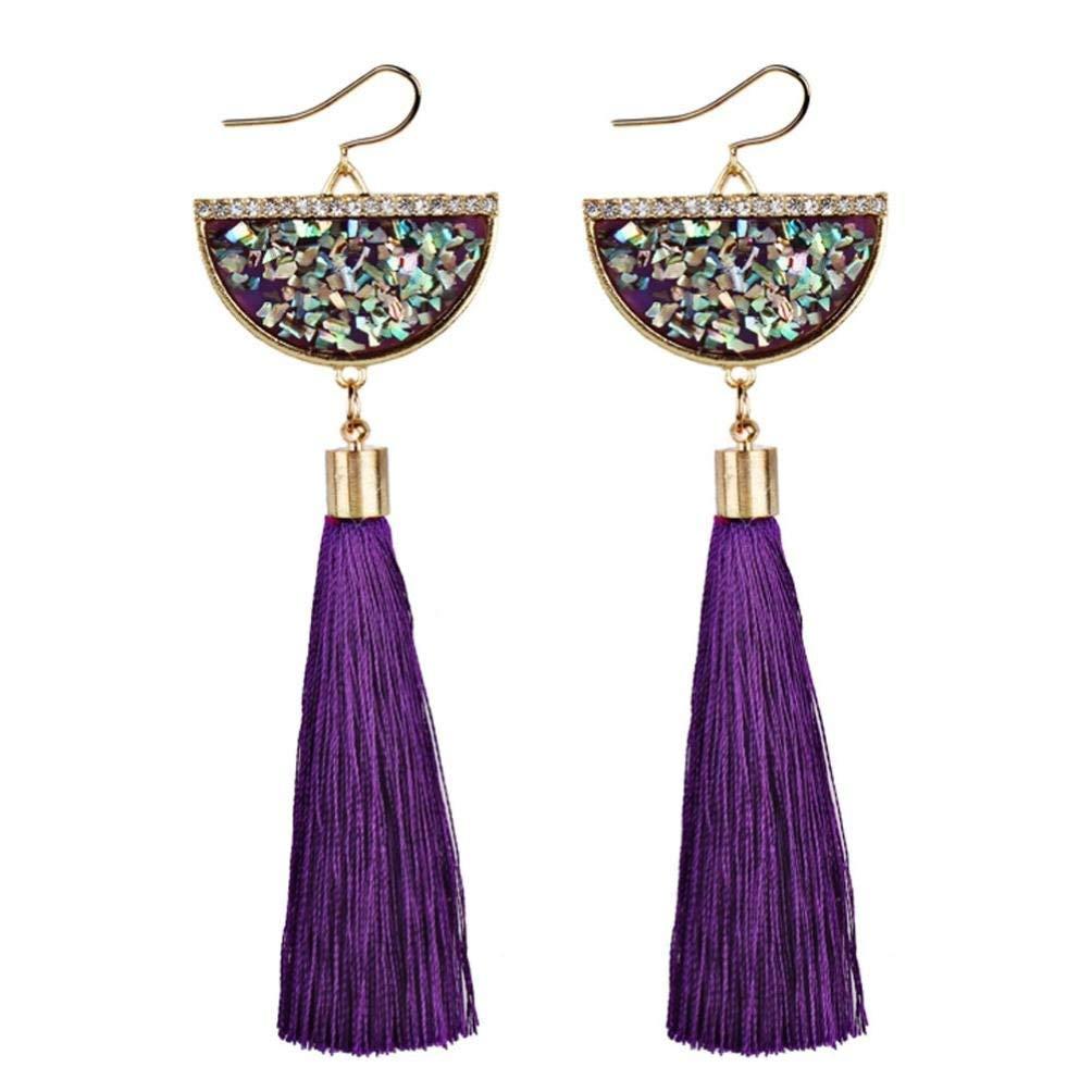 Clearance Deal! Hot Sale! Earring, Fitfulvan 2018 Vintage Women Bohemian Earrings Long Tassel Fringe Dangle Earrings Mother's Day Gifts Earrings Jewelry (Purple)