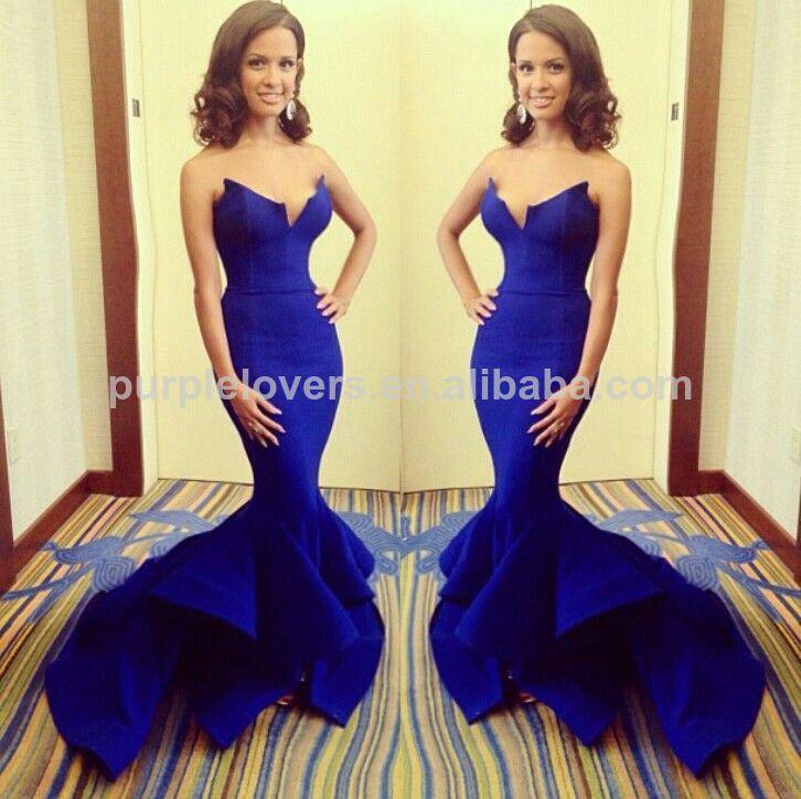 Vestido azul royal sereia