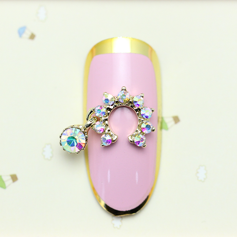 Glitter Heart Pendant Rhinestones AB Stone Nail Art Decorations Alloy Stickers For Nails