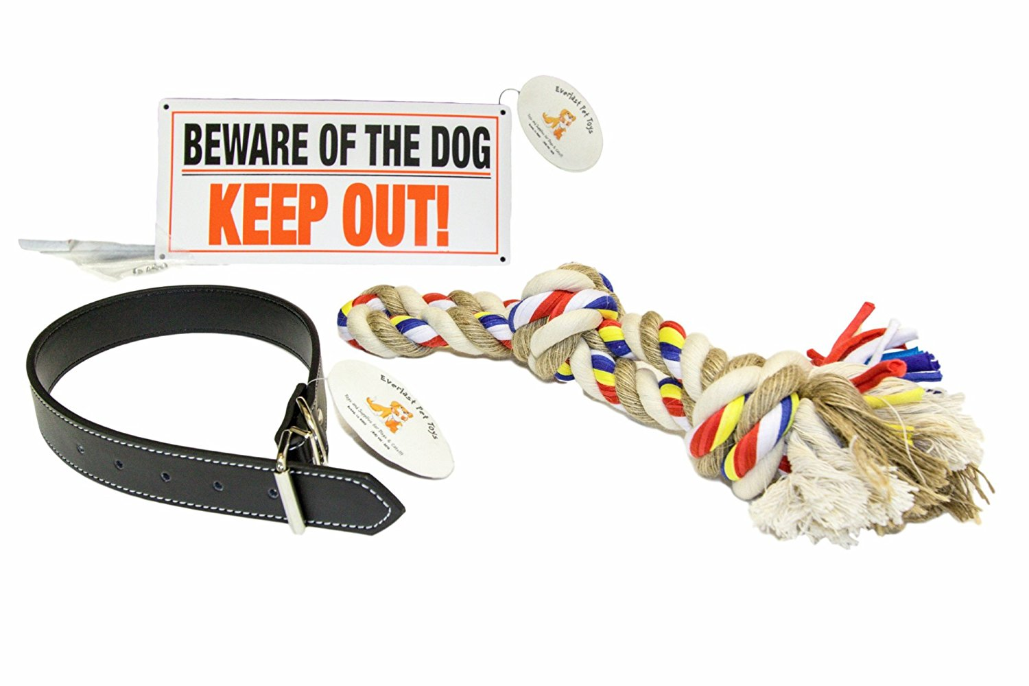 "Everlast Pet Toys | Best Dog Collar & Chew Rope Bundle PLUS For Large Dogs | 24"" x 1.25"" Adjustable Dog Collar 