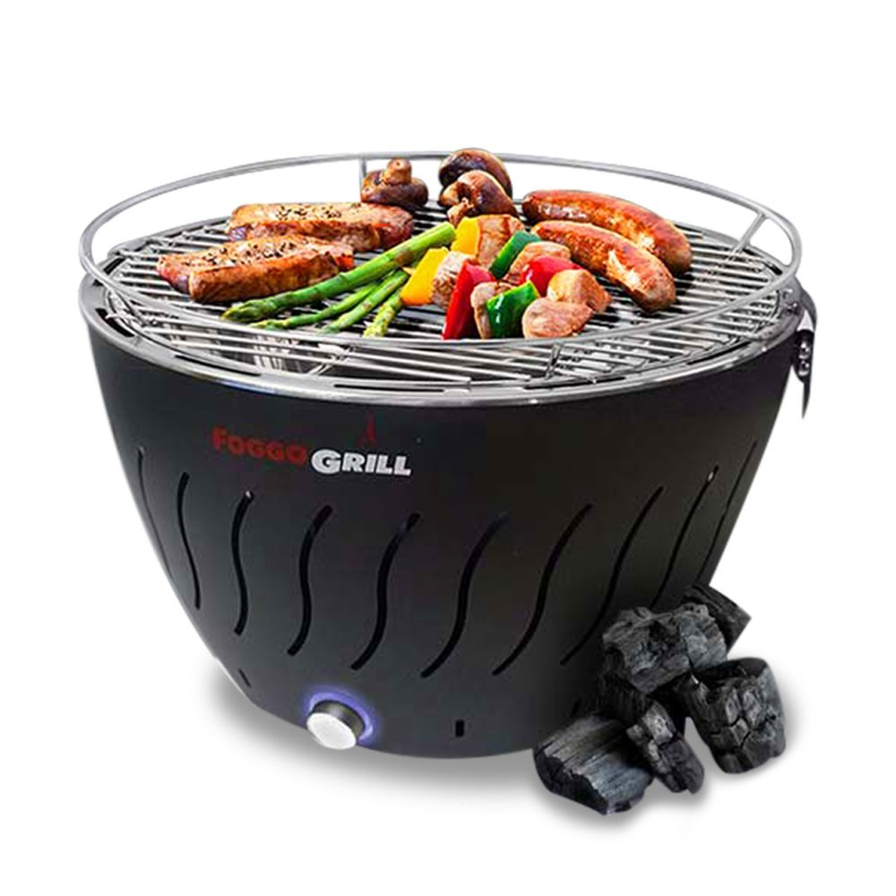 Foggo Grill Smokeless Indoor Portable Charcoal Electric Bbq W Battery Operated Fan