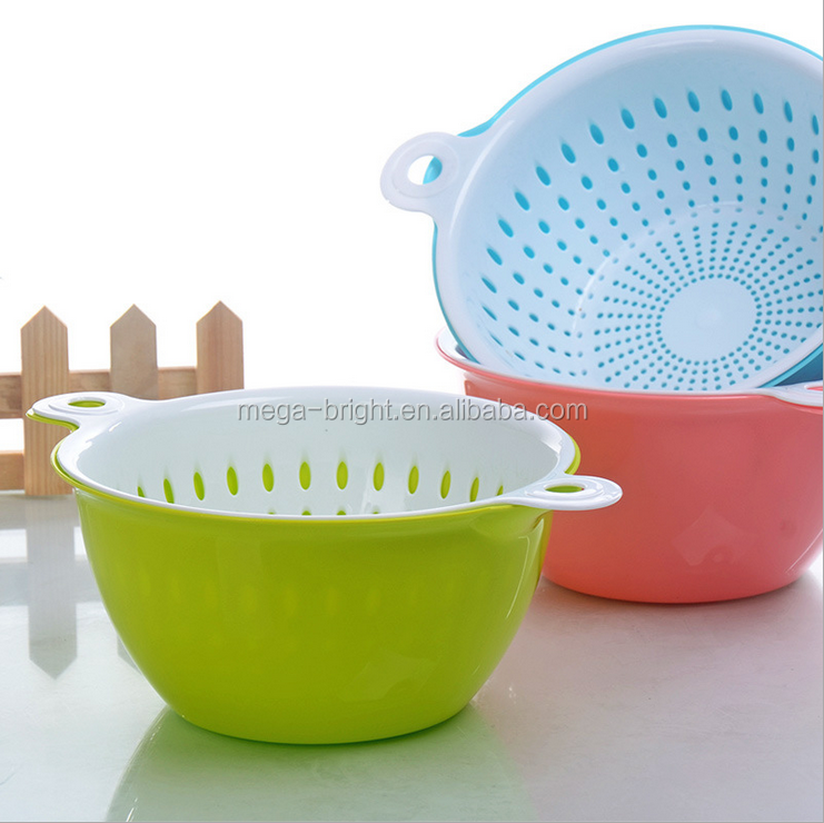 double-deck kitchen plastic fruit and vegetable basket