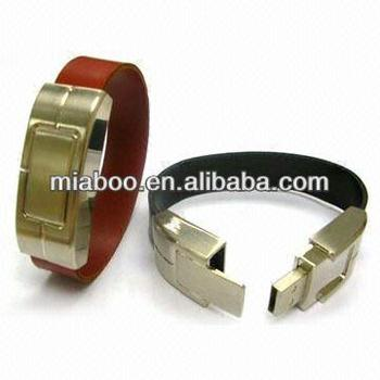 Fashionable Leather Usb Bracelet With Data Protected For Free Embossing Logo 100 Full Capacity
