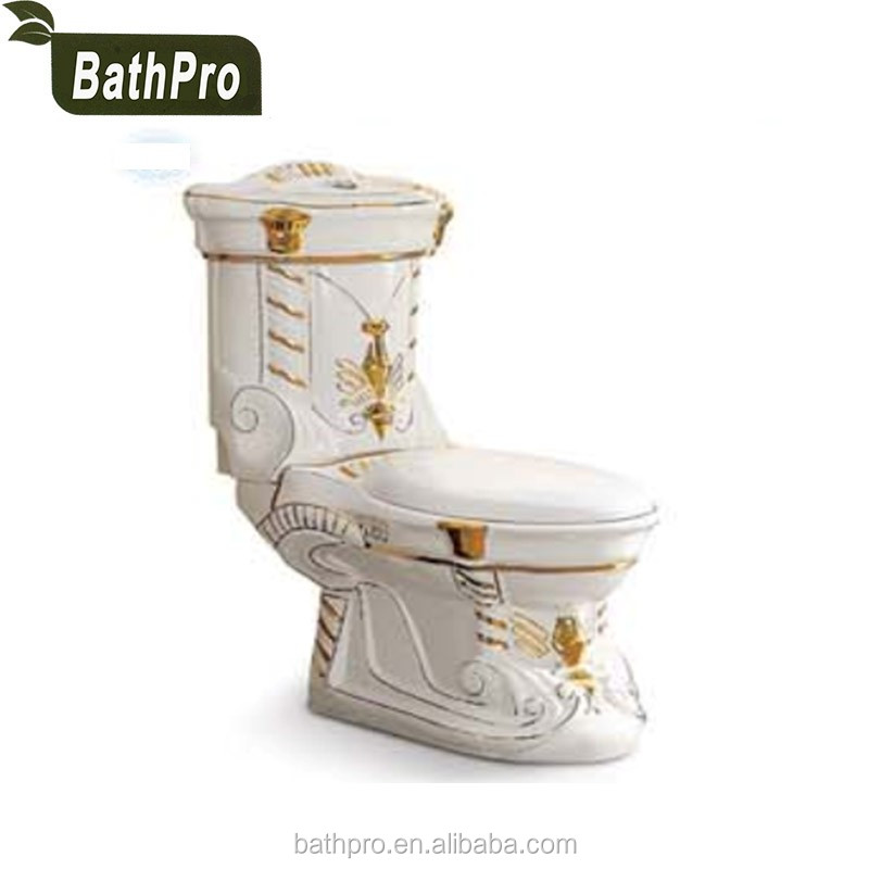 Gold Plated Washdown 180mm 300mm Roughin P trap S trap 2 Piece toilet