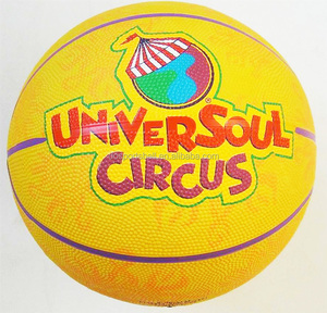 Yiwu cheap customized logo and design cartoon rubber basketball for kids