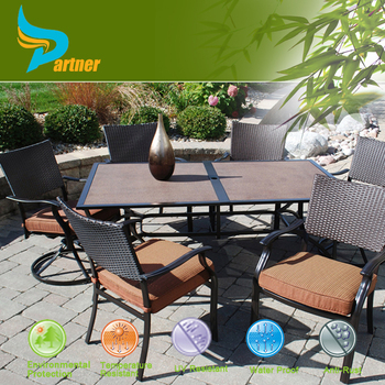 garden furniture home trends terrace pe rattan steel dining table and chair set - Garden Furniture Steel