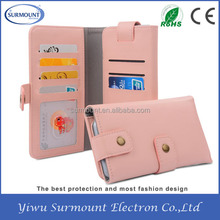 Hot selling Universal Pink Genuine Leather mobile phone wallet case for iPhone 6 6S i8190 iPhone 5 with Credit Card Slot