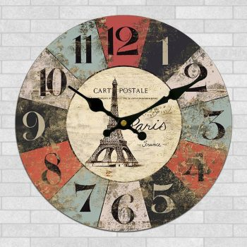 Handmade Craft Round Retro Style Wood Frame Wall Clock