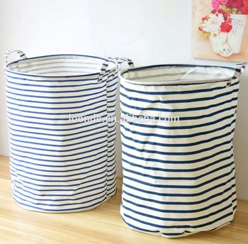 Decorative fabric stripe laundry storage basket