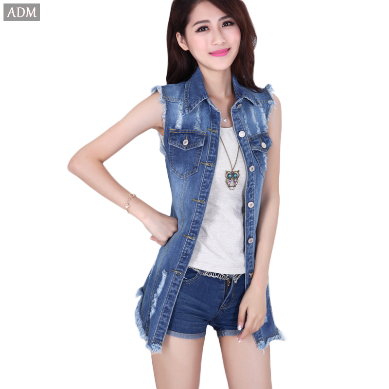 b17962659a Buy ADM 2015 Brand New Ladies Denim Jackets Outwear Hole Sleeveless Jeans  Coat Plus Size Women Fashion Jeans Coats in Cheap Price on m.alibaba.com
