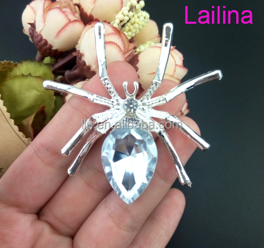 fashion cheap cystal Spider rhinestone brooches for lady clothes decoration