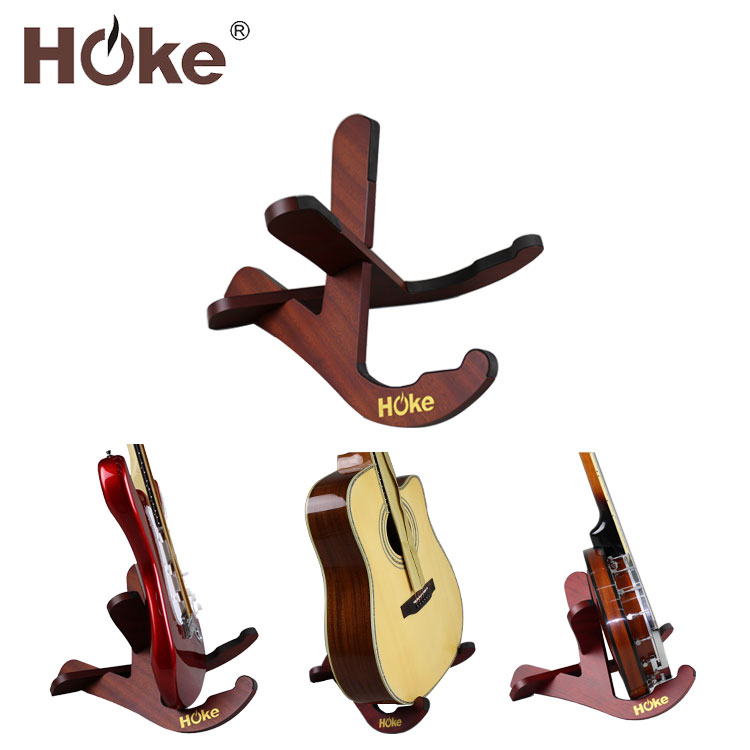 Custom Portable Folding Wood Musical Instrument Electric Acoustic Guitar Stand For Guitar