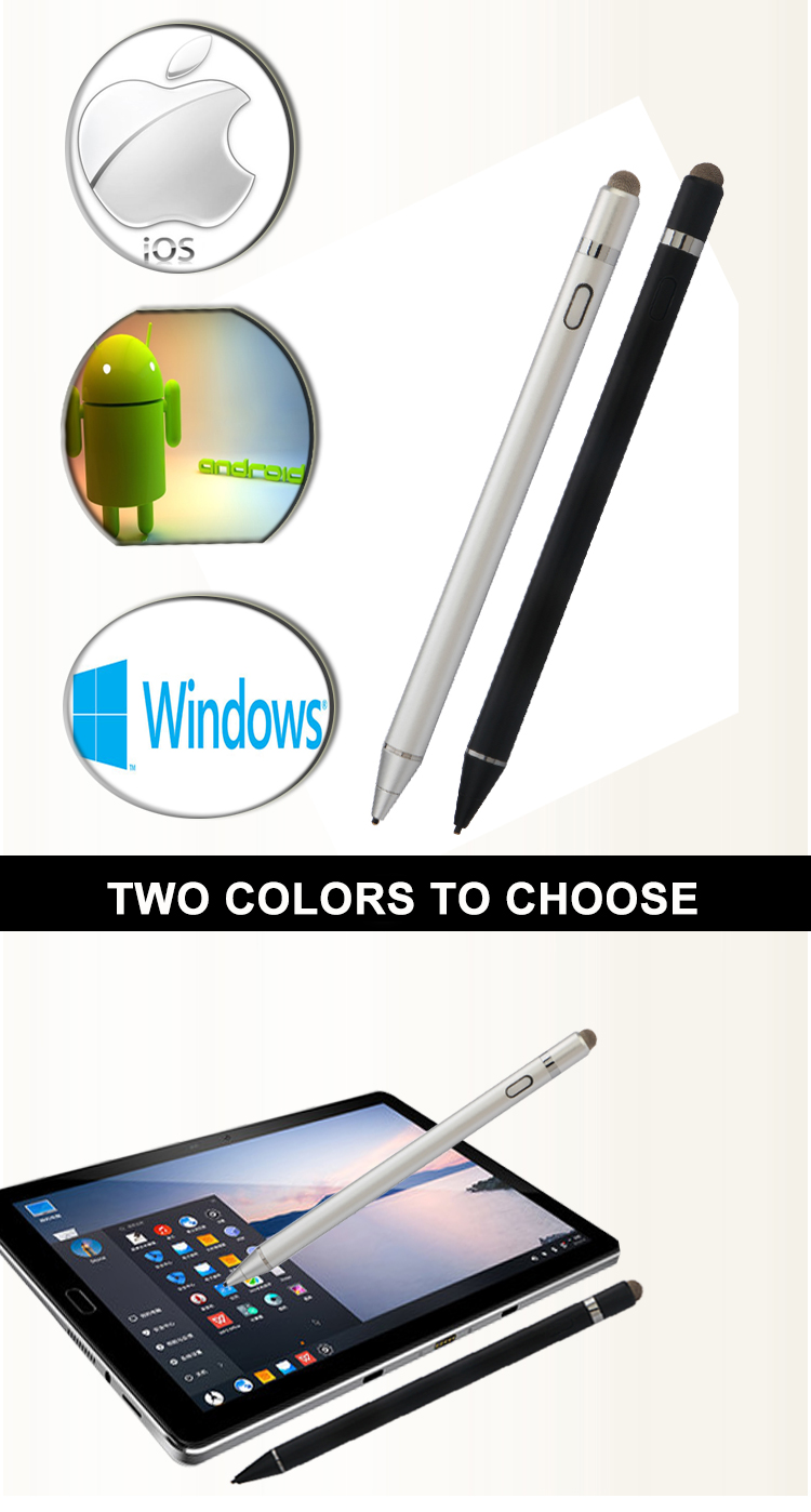 High-precision 1.45mm 2 in 1 capacitive stylus touch pen for smartphone Tablet