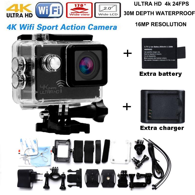 Бесплатная доставка 4 К 3840*2160 P/24FPS 16MP 170D Действий камеры Новатэк 96660 подводные водонепроницаемый go pro камера добавить зарядное устройство