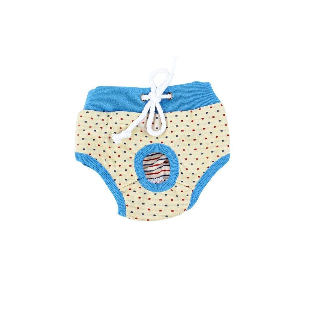 Uxcell Small Dots Pattern Adjustable Dog Waist Diaper Pants Underwear, Medium, Beige/Blue