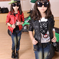 4 11T 2016 autumn girl fashion outerwear coats PU leather jackets coats baby girl clothing two