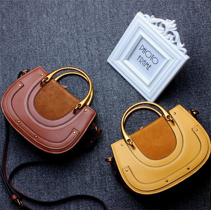 High quality fashion handbag saddle style genuine leather shoulder bag