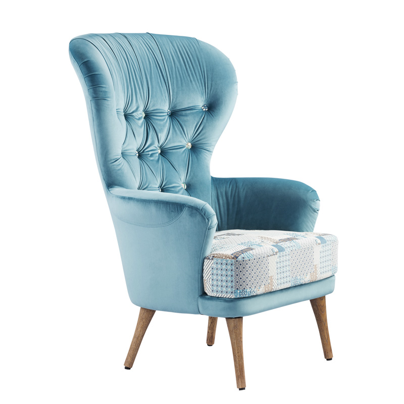 Modern High Back Wing Chair Single