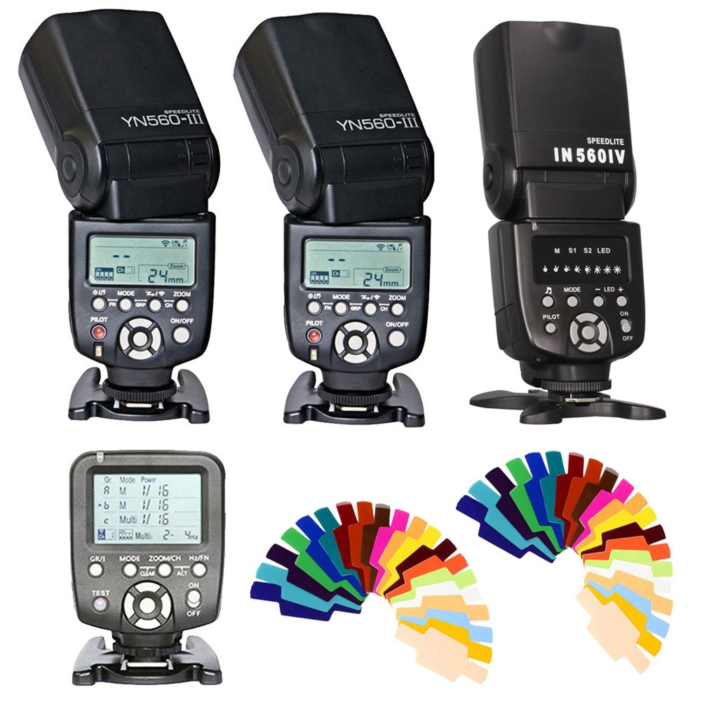 YONGNUO YN 560 III Flash Speedlight + YONGNUO YN-560-TX Wireless Flash Controller For Nikon +IN560IV Wireless Universal Flash Speedlite + 20 Color Filters