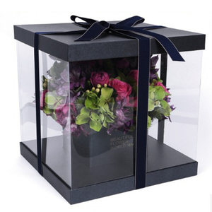 Creative design clear square transparent PVC flower box with personalised logo