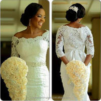 Vestido De Noiva Appliques Lace African Mermaid Long Sleeve Wedding Dresses WW1415