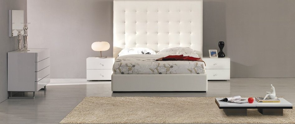 HXDL151-2402 Huaxu Wooden High Gloss Bedroom Furniture Sets Tall Headboard Platform Bed