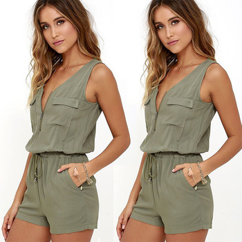 2019 Latest Design Army Green Jumpsuit Women Sleeveless Shorts Spandex One Piece Jumpsuit