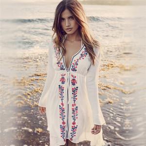 d11a510557 YOUME New Arrivals Beach Cover up Embroidery Vintage Swimwear Ladies Tunics Kaftan  Beach Dress Beach Wear