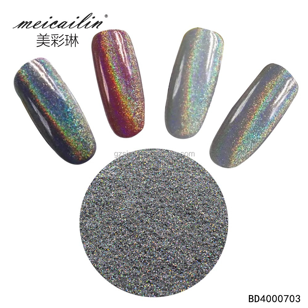 Holographic Pigment Rainbow Silver Nail Art Mirror Effect Powder