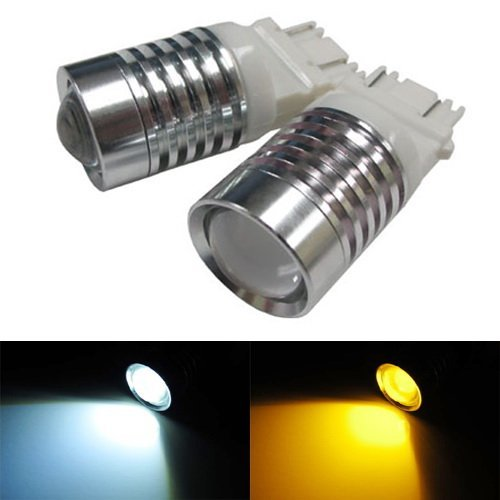 iJDMTOY (2) Super Bright White/Amber 4W High Power 3157 3057 3155 3357 3457 4157 Switchback LED Bulbs For Front Turn Signal Lights