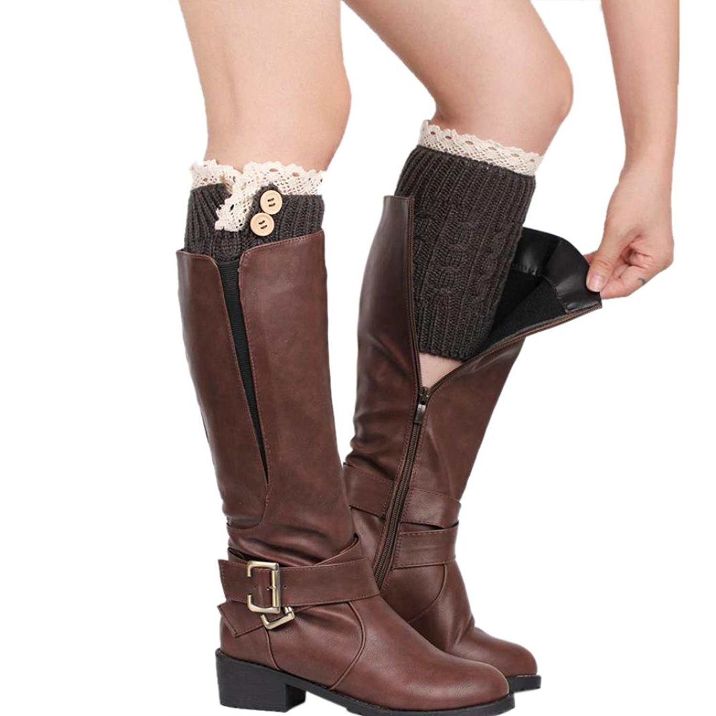 RNTOP Womens Lace Stretch Boot Leg Cuffs Leg Warmers Socks Topper Cuff