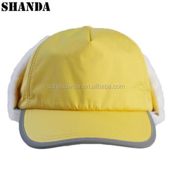 elementary school student yellow hat REFLECT waterproof warm custom 5 panel  earflap hat cap b7bc0e62521