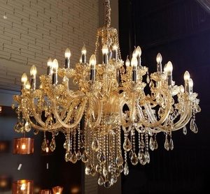 Luxury amber crystal chandelier 12 glass arms wedding chandelier crystals lighting ETL89066