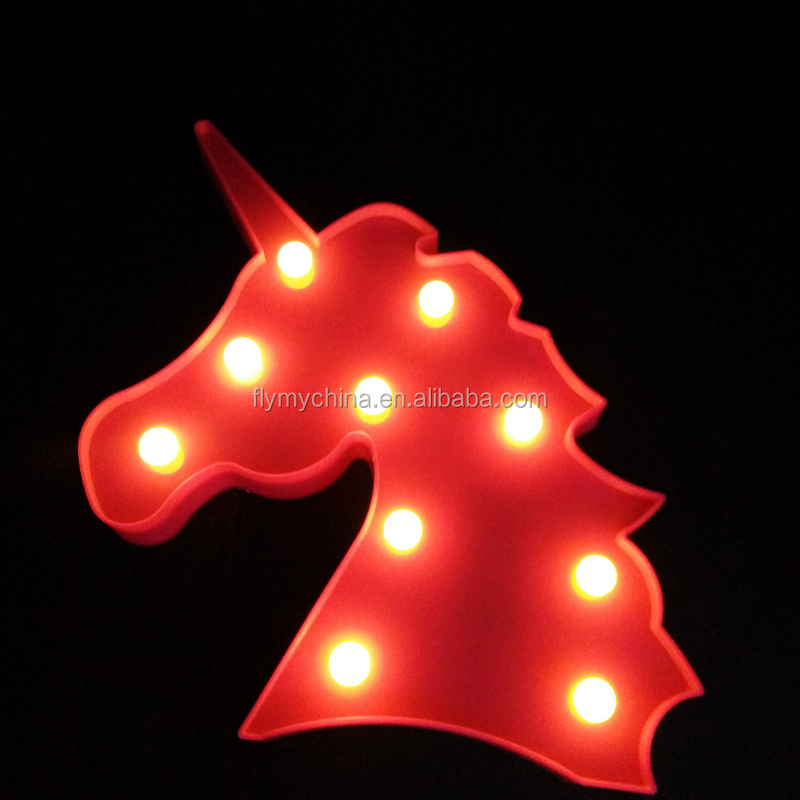 Indoor lighting white blue pink led marquee unicorn night light for birthday and party supplies decorations