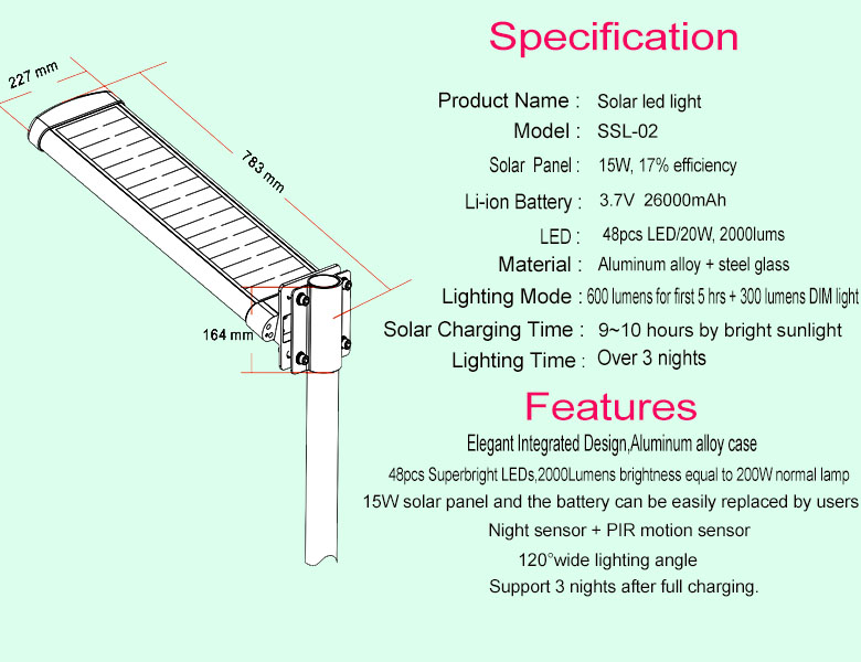 China High Power All In One Solar Led Street Light India