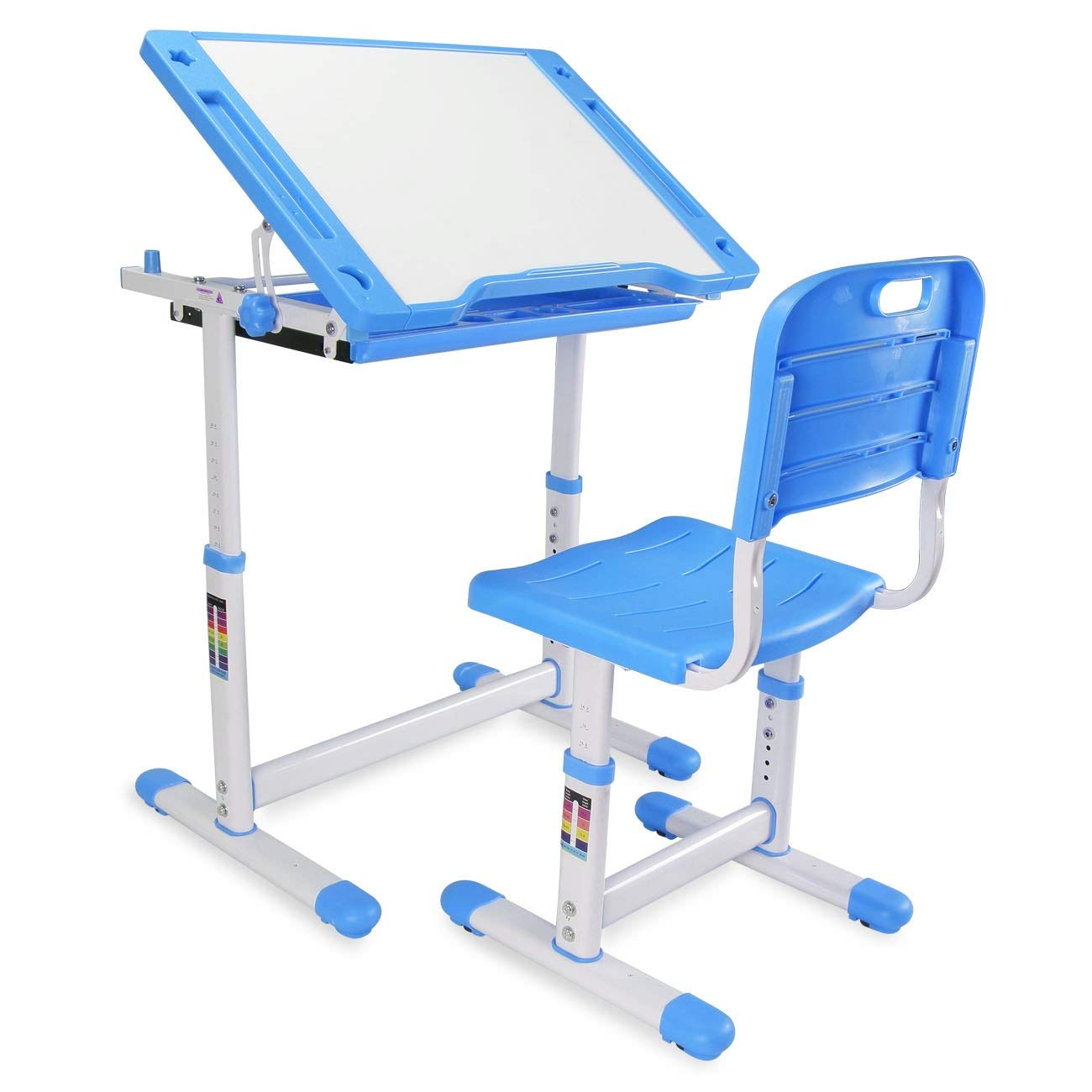 Kidzone Adjustable Children's Desk & Chair Set Kids Study Table Set Desk Height Work Station w/ Pull Out Drawer, Blue